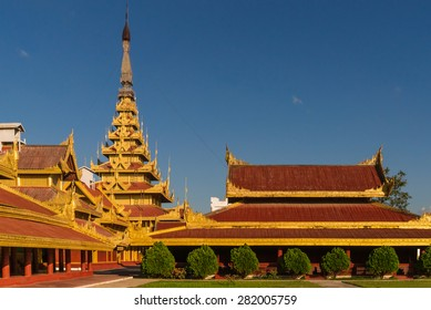 View of the Myey Nan Taw, the building housing the Lion Throne, and other buildings at the Mandalay Royal Palace compound