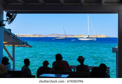 View of Mykonos with boats, Cyclades islands, Greece