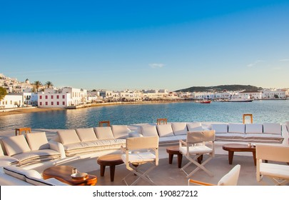 View of Mykonos from restaurant at old port. Greece.