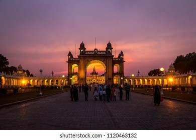 View of Mysore Palace entrance at night, also known as Ambavilas Palace, Karnataka, India