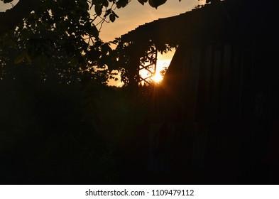 view of mystical sunrise, South Bohemia, Czech Republic