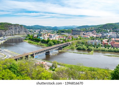 A view of Ústí nad Labem (Czechia) and the Elbe river from Vetruše hill lookout