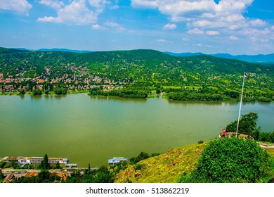 view of Nagymaros town situated on the opposite shore of the visegrad castle and next to the danube river in Hungary