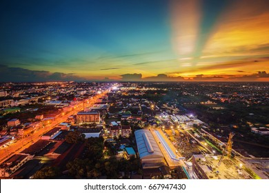 view of Nakhon Ratchasima city at sunset, Thailand