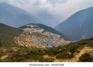 View of Namche Bazar at Everest base Camp Track in Nepal