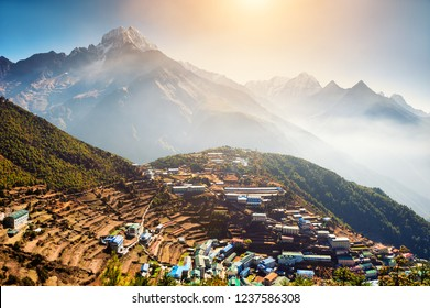 View of Namche Bazar village on the way to Everest Base Camp in Himalayas, Nepal.