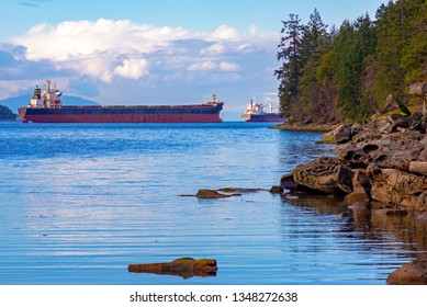 View of the Nanaimo harbour and Georgia Strait from Jack Point park in Vancouver Island, BC, Canada