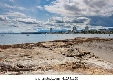 A view of the Nanaimo skyline and harbour from Newcastle Island