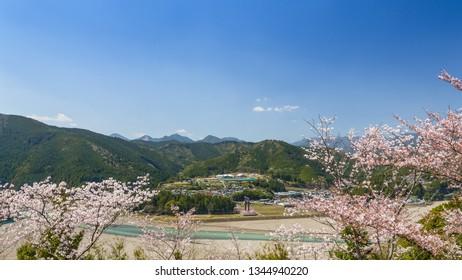 A view from Nanakoshimine Peak in spring, Wakayama prefecture, Japan