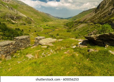 View of nant Ffrancon Pass with World War II Anti Tank cubes. Idwal Cottage, Snowdonia National Park, Gwynedd, Wales, United Kingdom.