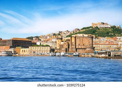 View of Naples with forts from the sea, Italy