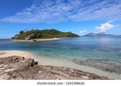 View of Narara Island and Naukacuvu Island beach and lagoon in the Yasawa archipelago, Fiji