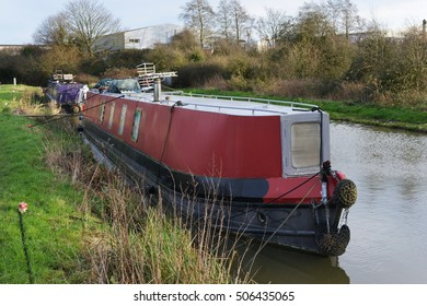 View of a Narrow Boat on the Kennet and Avon Canal Near Bath in Somerset England