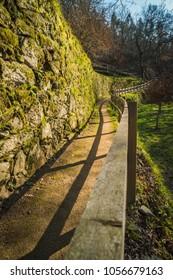 View of a narrow pedestrian Pedestrian pathway in Oliveira de Azemeis, Aveiro - Portugal.