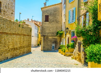 View of a narrow street in the center of Antibes, France
