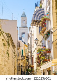 View of a narrow street in the Italian city Bari. Bari is the capital city of the Metropolitan City of Bari and of the Apulia region, on the Adriatic Sea, in southern Italy