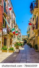 View of a narrow street in the Italian city Bari