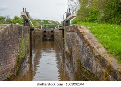 View from a Narrowboat, approaching a lock on the LLangollen Canal, UK.