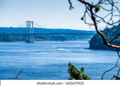 A view of the Narrows Bridge in Tacoma, Washington.