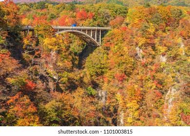View of Naruko Gorge in autumn season, Miyagi, Japan