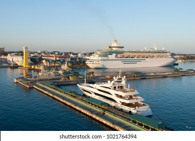 The view of Nassau city port in early morning (Bahamas).