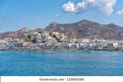 View of Nasso bay and harbor - Cyclades island - Aegean sea - Naxos - Greece