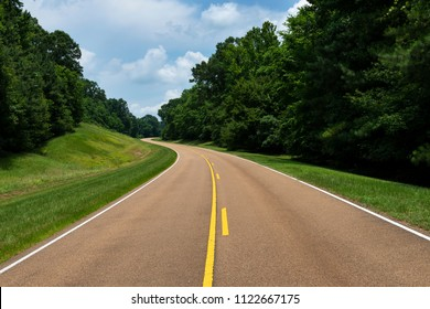 View of the Natchez Trace Parkway in Mississippi, USA; Concept for travel in America and road trip in America