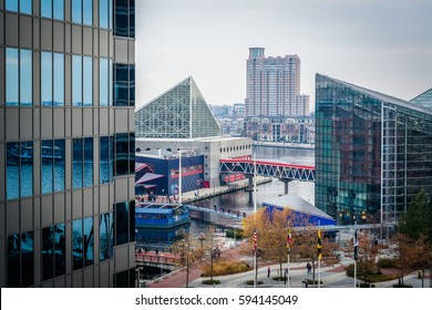 View of the National Aquarium and buildings at the Inner Harbor, in Baltimore, Maryland.