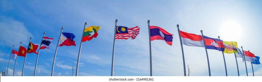 View of national flags of Southeast Asia countries; Malaysia, Laos, Singapore, Brunei Darussalam, Myanmar / Burma, Cambodia, Indonesia, Philippines, Thailand, Vietnam, East Timor.