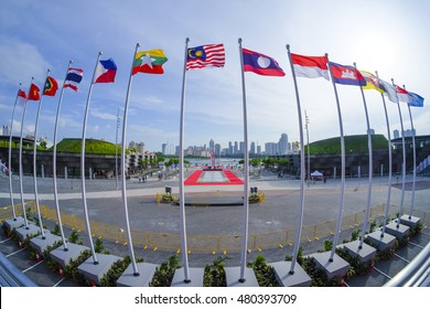View of national flags of Southeast Asia countries; Brunei Darussalam, Myanmar / Burma, Cambodia, Indonesia, Laos, Malaysia, Philippines, Singapore, Thailand, Vietnam, East Timor.