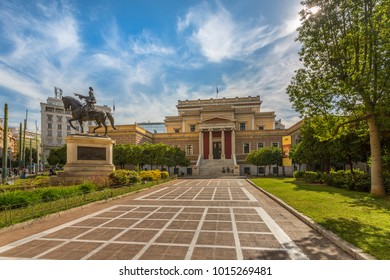 View of National Historical Museum and Statue of Theodoros Kolokotronis, Athens, Greece, Europe 11 October 2017