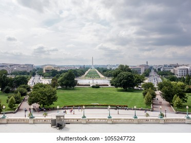 A view of the National Mall as seen from the Speaker's Balcony in the US Capital Building.