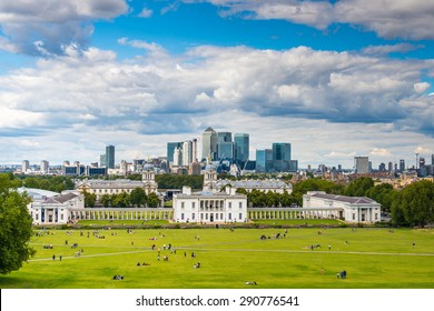View of the National Maritime Museum and Canary Wharf - London, England