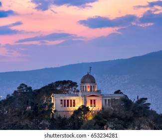 View of National Observatory of Athens in the Evening, Athens, Greece