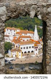 View to National Palace of Sintra (Palacio Nacional de Sintra), former summer royal residence. Sintra, Portugal
