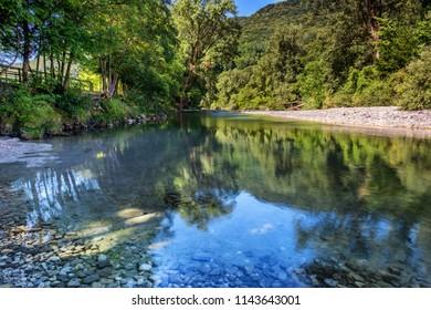 View of Natisone river at Biarzo, a small village close to Cividale del Friuli, Udine province, Friuli Venezia Giulia region, Italy.