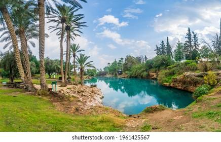 View of natural warm water pool in Gan HaShlosha National Park (Sakhne), in the Bet Shean Valley, Northern Israel