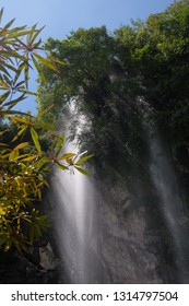 View of natural waterfall breeze
