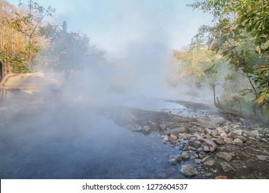 view nature of Tha Pai Hot Spring or Pong Nam Ron Tha Pai in Thai around with the mist and hot water stream background, Pai District, Mae Hong Son, Thailand.