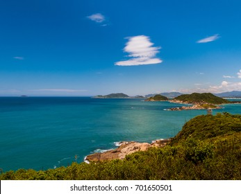 View of the Naufragados lighthouse, in the archipelago of Florianopolis, Brazil.
