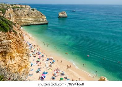 View of the Navy Beach (Praia da Marinha) in Lagoa, District Faro, Algarve, Southern Portugal.