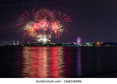 View of Navy Pier fireworks on 4th July from North Shore,  Chicago, Illinois, United States of America, North America 4-7-2019
