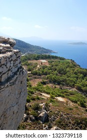 View of the nearby islands from the stone walls of the ruins of Kritinia Castle, Kritinia Village, Rhodes Island, Greece
