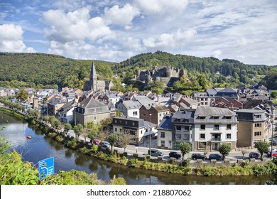 View from nearest hill on belgian city La Roche-en-Ardenne with river Ourthe, church and ruins of medieval castle