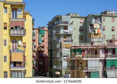 View of a neighborhood with colorful buildings of Torre del Greco in Italy