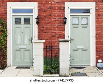 View of Neighbouring House Front Doors on a City Street
