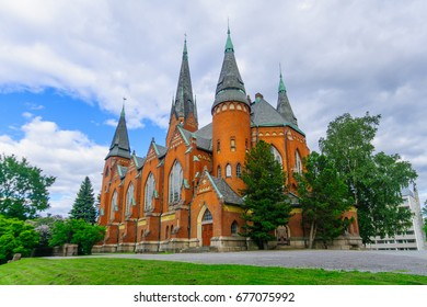View of the Neo-Gothic redbrick Michaels Church, in Turku, Finland