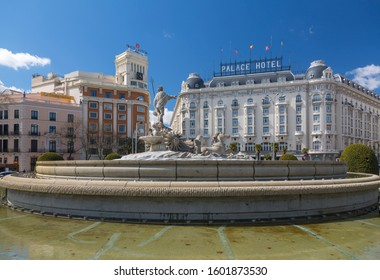 View of the Neptune Fountain in Plaza Canovas del Castillo, Madrid, Spain, Europe 1-9-19