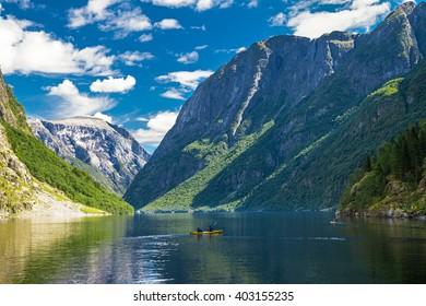 View to Neroyfjord - the narrowest fjord in Norway, Gudvangen, Norway