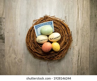 View of a nest egg. Retirement, insurance and social security concept.
